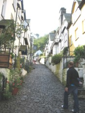 Cobbled main street of Clovelly, Devon.
